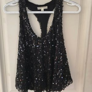 HOLIDAY Black sequence sleeveless blouse